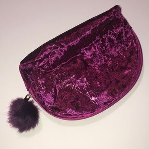 Burgundy velvet makeup bag with Pom Pom